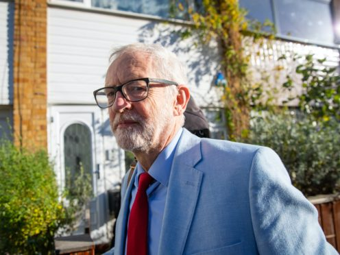 Former Labour leader Jeremy Corbyn leaves his house in north London (Aaron Chown/PA)