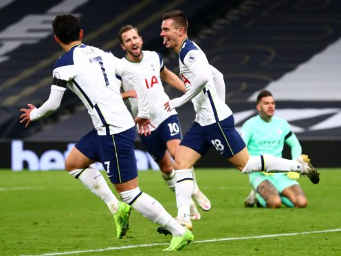 Giovani Lo Celso, right, scored his first Premier League goal in Tottenham's 2-0 win over Manchester City (Clive Rose/PA)