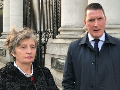 Geraldine Finucane and John Finucane, widow and son of the late Pat Finucane, at Government Buildings in Dublin (Michelle Devane/PA)