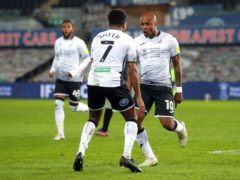 Andre Ayew (right) celebrates scoring Swansea's equaliser in their 1-1 draw with Sheffield Wednesday (David Davies/PA)