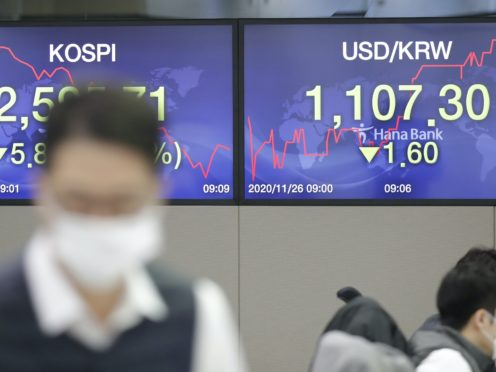 The screens showing the Korea Composite Stock Price Index (KOSPI) (Lee Jin-man/AP)