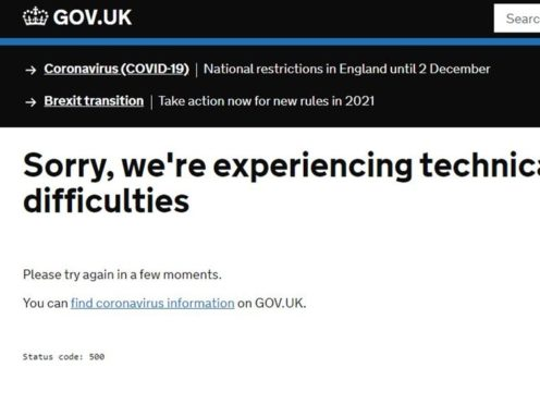The postcode checker on the Government website, which crashed shortly after it went live (Gov.uk)