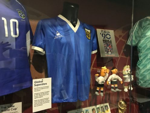 The shirt Diego Maradona wore when he played England in 1986 is on display at the National Football Museum in Manchester (Richard McCarthy/PA)