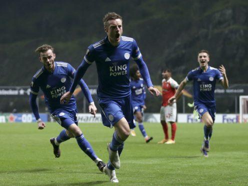 Jamie Vardy scored Leicester's late leveller against Braga (Luis Vieira/AP)