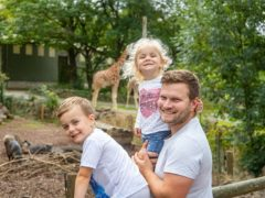 Single father Mike Trower with son Cody, 4, and daughter Lara, 2, from Paignton in Devon (Action for Children/PA)
