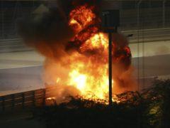 Romain Grosjean's car burst into flames on impact (Brynn Lennon, Pool via AP)