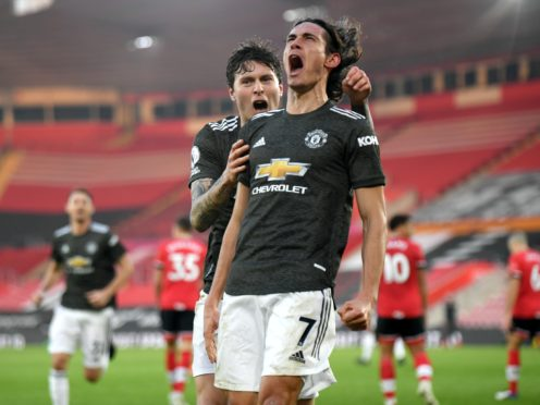 Edinson Cavani (right) posted a controversial comment on social media after scoring twice in Manchester United's win over Southampton. (Mike Hewitt/PA)