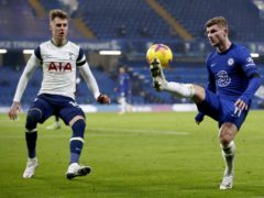 Chelsea's Timo Werner, right, and Tottenham's Joe Rodon battle for the ball (Matthew Childs/PA)