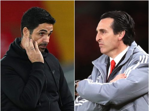 Arsenal boss Mikel Arteta was appointed as Unai Emery's successor last December. (Peter Byrne/PA/Adam Davy/PA)