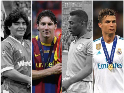 Diego Maradona, Lionel Messi, Pele and Ronaldo (PA)