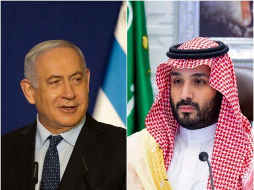 Benjamin Netanyahu and Mohammed bin Salman (Maya Alleruzzo/Bandar Aljaroud/AP)