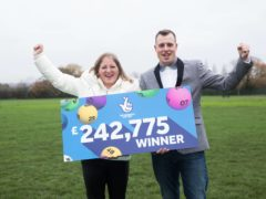 Samantha Morton and her boyfriend, Barry Lingard, celebrate her winning £242,775.50 with a EuroMillions Lucky Dip ticket (National Lottery/PA)