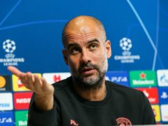 Pep Guardiola is not thinking about the upcoming derby against Manchester United as Manchester City face Marseille (Barrington Coombs/PA)