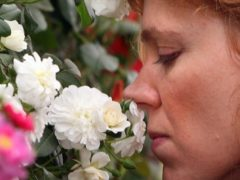 A visitor smells one of the many blooms at the Chelsea Flower Show, in the grounds of the Royal Chelsea Hospital, west London (Lewis Whyld/PA)