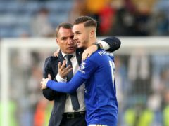 Leicester manager Brendan Rodgers (left) heaped praise on two-goal hero James Maddison (Nigel French/PA)