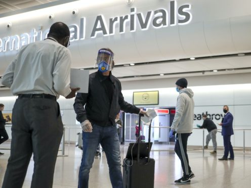 High-value business travellers, sports stars and performing arts professionals will be exempt from England's quarantine requirement for international arrivals from Saturday (Steve Parsons/PA)