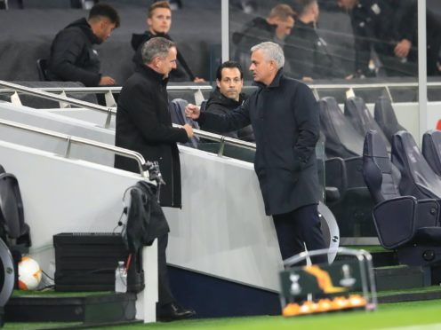 LASK head coach Dominik Thalhammer, left, is hopeful Tottenham manager Jose Mourinho will not be happy after the game at the Linzer Stadion (Adam Davy/PA)