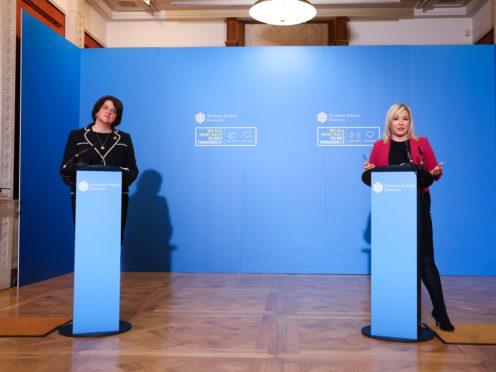 First Minister Arlene Foster, left, described the development as 'more good news' (Kelvin Boyes/Press Eye/PA)