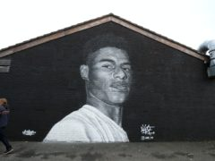 A mural of Manchester United striker Marcus Rashford by Street artist Akse on the wall of the Coffee House Cafe on Copson Street, Withington (Barrington Coombs/PA)
