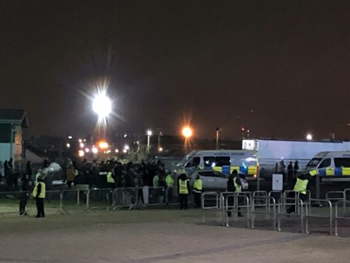 Fans gather outside Celtic Park to protest against manager Neil Lennon (Gavin McCafferty/PA)