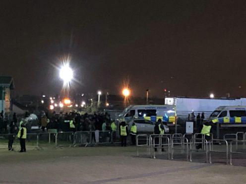 Fans gathered outside Celtic Park to protest against manager Neil Lennon (Gavin McCafferty/PA)