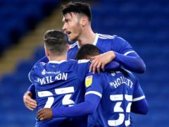 Kieffer Moore, centre, netted twice for Cardiff against Huddersfield (David Davies/PA)