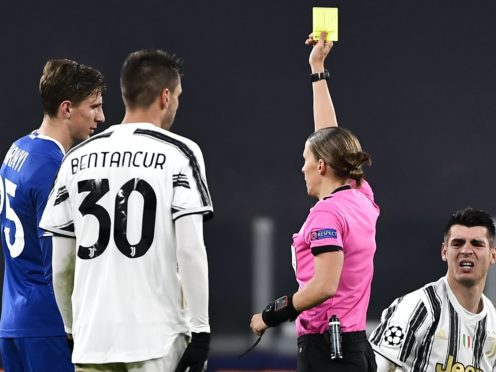 Stephanie Frappart became the first female referee in a Champions League match on Wednesday (Marco Alpozzi/LaPresse via AP)