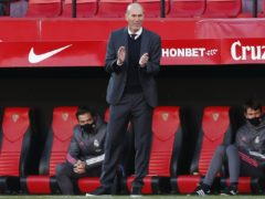 Real Madrid head coach Zinedine Zidane applauds to his players during their victory at Sevilla (Angel Fernandez/AP/PA)