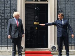 Emmanuel Macron (right) is the latest leader to catch coronavirus, following the likes of Boris Johnson in testing positive for the disease (Dominic Lipinski/PA)