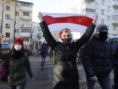 Demonstrators during an opposition rally in Minsk (AP)