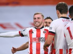 Sheffield United striker Oli McBurnie celebrates scoring his first goal of the season against Leicester last weekend (Laurence Griffiths/PA)
