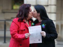 Amanda McGurk (left) and Cara McCann outside Belfast City Hall (Liam McBurney/PA)