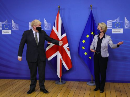 Prime Minister Boris Johnson is set to speak to Europe's top official Ursula von der Leyen on Sunday (Aaron Chown/PA)