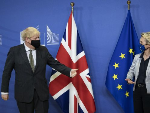 Prime Minister Boris Johnson with European Commission president Ursula von der Leyen (Aaron Chown/PA)