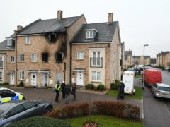 Emergency services at the scene of the fire on Buttercup Avenue, Eynesbury, Cambridgeshire (Joe Giddens/PA)