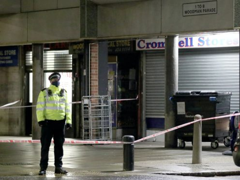 Police at the scene in Woodman Parade, Newham (Yui Mok/PA)