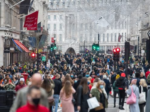 Shoppers on Regent Street, in central London last weekend (PA)