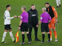 Derby's interim manager Wayne Rooney felt referee Andy Woolmer should have awarded his side a penalty (Nigel French/PA)