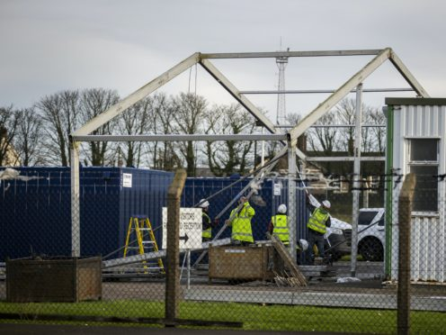 Workers building a border control post in NI (Liam McBurney/PA)