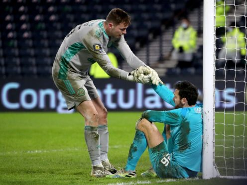 Conor Hazard (left) is Celtic hero after Cup win (Andrew Millign/PA)