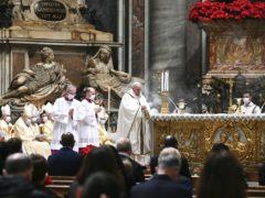 Pope Francis celebrates Mass on Christmas eve (Vincenzo Pinto/Pool Photo via AP)