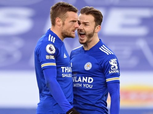 Jamie Vardy celebrates Leicester's late leveller with James Maddison (Michael Regan/PA).