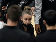 San Antonio Spurs assistant coach Becky Hammon made history on Wednesday night (AP Photo/Eric Gay)
