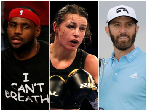 LeBron James, Katie Taylor and Dustin Johnson (PA)