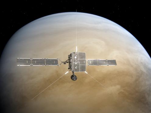 Artist's impression of Solar Orbiter making a flyby at Venus (ESA/ATG medialab)