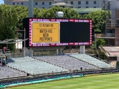 The Newlands scoreboard confirms the game is off (Rory Dollard/PA)