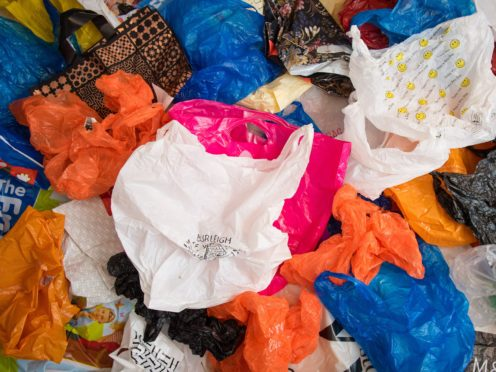 Around 525 million single-use carrier bags were given out by large supermarkets in 2019 (Dominic Lipinski/PA)