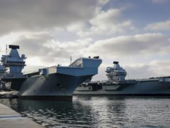 HMS Queen Elizabeth and HMS Prince of Wales in their home port of Portsmouth (MoD/Royal Navy/PA)