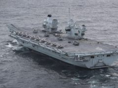 HMS Queen Elizabeth at sea (LPhot Belinda Alker/MoD/PA)
