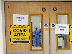 The entrance to one of five Covid-19 wards at Whiston Hospital (PA)